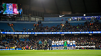 The teams observe a minute silence in memory of Italian player Davide Astori during the International Friendly match between Argentina and Italy at the Etihad Stadium, Manchester, England on 23 March 2018. Photo by Andy Rowland.