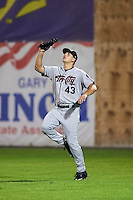 Tri-City ValleyCats Carmen Benedetti (43) gets under a fly ball during a game against the Auburn Doubledays on August 25, 2016 at Falcon Park in Auburn, New York.  Tri-City defeated Auburn 4-3.  (Mike Janes/Four Seam Images)