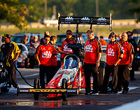 Sep 29, 2017; Madison , IL, USA; Crew members with NHRA top fuel driver Doug Kalitta during qualifying for the Midwest Nationals at Gateway Motorsports Park. Mandatory Credit: Mark J. Rebilas-USA TODAY Sports