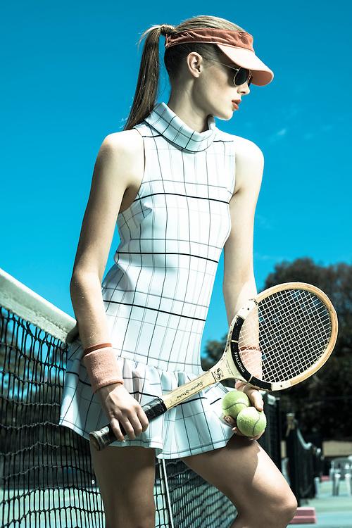Fashion With Mirella, Tennis Fashion at Next Generation Tennis Courts, Model Fiona Dawson  Photo: Nick Clayton