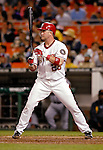 16 May 2007: Washington Nationals catcher Brian Schneider in action against the Atlanta Braves at RFK Stadium in Washington, DC. The Nationals rallied to defeat the Braves 6-4 to take a 2-1 lead in their four-game series...Mandatory Photo Credit: Ed Wolfstein Photo