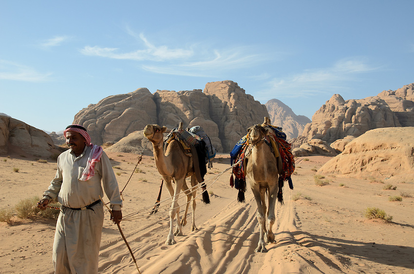 A Bedouin guide leads his camels over the sands at Wadi Rum, Jordan. Many Bedouins have left their lives as herders and turned to tourism for their livelihoods.