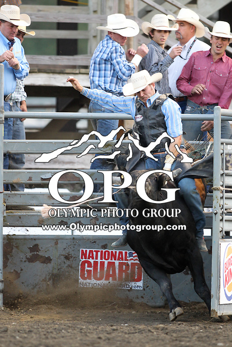 20 Aug 2014:  Mike Sparks was not able to score while competing in the Seminole Hard Rock Extreme Bulls competition at the Kitsap County Stampede in Bremerton, Washington.