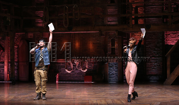 "Syndee Winters and Roddy Kennedy performing before The Rockefeller Foundation and The Gilder Lehrman Institute of American History sponsored High School student #EduHam matinee performance of ""Hamilton"" at the Richard Rodgers Theatre on 3/15/2017 in New York City."