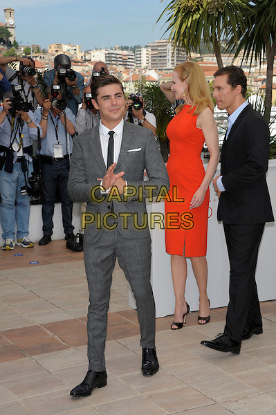 Zac Efron, Nicole Kidman, Matthew McConaughey.'The Paperboy' photocall at the 65th  Cannes Film Festival, France..24th May 2012.full length dress red sleeveless blue grey gray side profile suit trousers shirt .CAP/PL.©Phil Loftus/Capital Pictures.