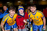 Fergal Hallissey, Anthony O'Connor and Michael John O'Connor celebrate after beating Dromtarriffe in the Munster Junior final in Mallow on Sunday