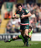 Matt Smith of Leicester Tigers is tackled by Cobus Reinach of Northampton Saints. Aviva Premiership match, between Leicester Tigers and Northampton Saints on April 14, 2018 at Welford Road in Leicester, England. Photo by: Patrick Khachfe / JMP