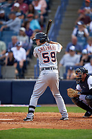 Detroit Tigers third baseman Zach Shepherd (59) at bat during a Spring Training game against the New York Yankees on March 2, 2016 at George M. Steinbrenner Field in Tampa, Florida.  New York defeated Detroit 10-9.  (Mike Janes/Four Seam Images)