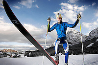Italian nordic sky Olympic Champion Pietro Piller Cottrer poses for a sponsor photoshooting in Sappada, Italy.