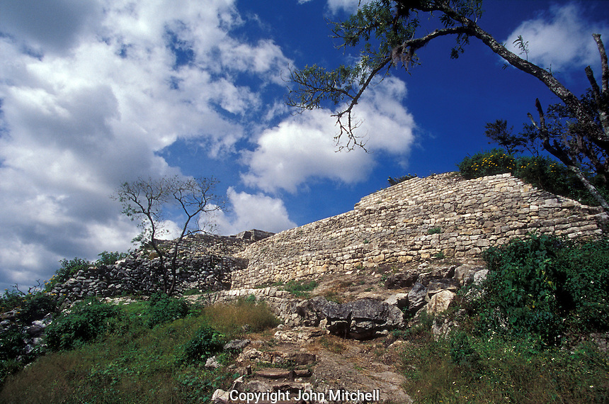 Approach to the Acroplois, the main structure at at the Mayan ruins of Chinkultic near Comitan, Chiapas, Mexico