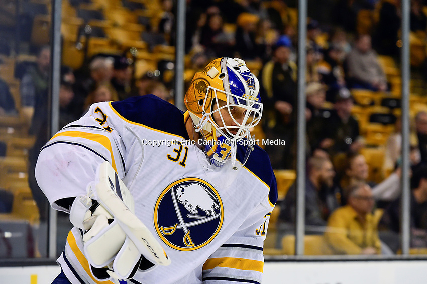 Saturday, December 31, 2016: Buffalo Sabres goalie Anders Nilsson (31) warms up before the National Hockey League game between the Buffalo Sabres and the Boston Bruins held at TD Garden, in Boston, Mass. Boston defeats Buffalo 3-1.  Eric Canha/CSM