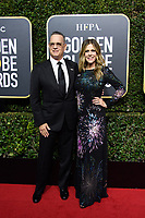 Nominated for BEST PERFORMANCE BY AN ACTOR IN A MOTION PICTURE &ndash; DRAMA for his role in &quot;The Post,&quot; actor Tom Hanks and Rita Wilson arrive at the 75th Annual Golden Globe Awards at the Beverly Hilton in Beverly Hills, CA on Sunday, January 7, 2018.<br /> *Editorial Use Only*<br /> CAP/PLF/HFPA<br /> &copy;HFPA/PLF/Capital Pictures