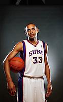 Dec. 16, 2011; Phoenix, AZ, USA; Phoenix Suns forward Grant Hill poses for a portrait during media day at the US Airways Center. Mandatory Credit: Mark J. Rebilas-