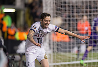 Ryan Mason of Tottenham Hotspur celebrates his goal during the UEFA Europa League 2nd leg match between Tottenham Hotspur and Fiorentina at White Hart Lane, London, England on 25 February 2016. Photo by Andy Rowland / Prime Media images.