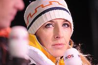 SCHAATSEN: BOEDAPEST: Essent ISU European Championships, 06-01-2012, Anni Friesinger-Postma, commentator NOS, ©foto Martin de Jong