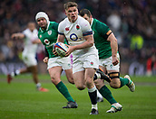 17th March 2018, Twickenham, London, England; NatWest Six Nations rugby, England versus Ireland; Owen Farrell of England looks to pass the ball