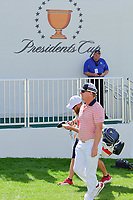 Charley Hoffman (USA) approaches the first tee during round 2 Four-Ball of the 2017 President's Cup, Liberty National Golf Club, Jersey City, New Jersey, USA. 9/29/2017.<br /> Picture: Golffile | Ken Murray<br /> <br /> All photo usage must carry mandatory copyright credit (&copy; Golffile | Ken Murray)