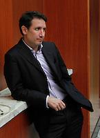 Riccardo Bigon  durante la conferenza stampa di presentazione del calendario del Napoli