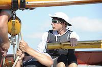 ZEILEN: ECHTERNERBRUG: IFKS Skûtsjesilen, winnaar Schipper Merijn Olsthoorn met skûtsje Emanuel (Lemmer), ©foto Martin de Jong
