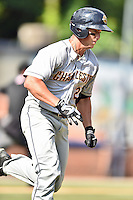 Charleston RiverDogs third baseman Mandy Alvarez (2) runs to first during game one of a double header against the Asheville Tourists at McCormick Field on July 8, 2016 in Asheville, North Carolina. The RiverDogs defeated the Tourists 10-4 in game one. (Tony Farlow/Four Seam Images)