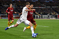 Marcos Llorente of Real Madrid and Justin Kluivert of AS Roma compete for the ball during the Uefa Champions League 2018/2019 Group G football match between AS Roma and Real Madrid atOlimpico stadium , Rome, November, 27, 2018 <br />  Foto Andrea Staccioli / Insidefoto