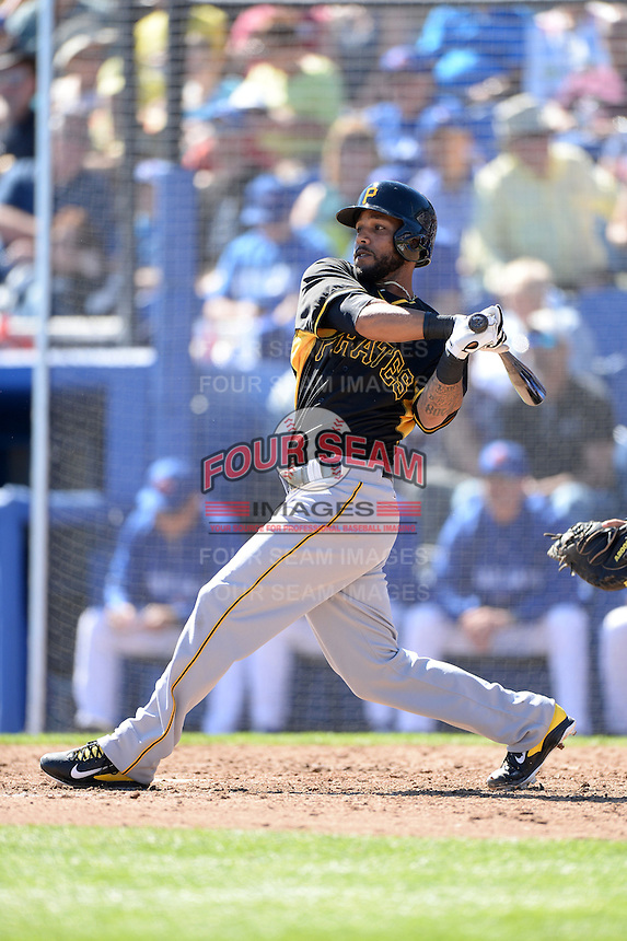 Infielder Robert Andino (59) of the Pittsburgh Pirates during a spring training game against the Toronto Blue Jays on February 28, 2014 at Florida Auto Exchange Stadium in Dunedin, Florida.  Toronto defeated Pittsburgh 4-2.  (Mike Janes/Four Seam Images)