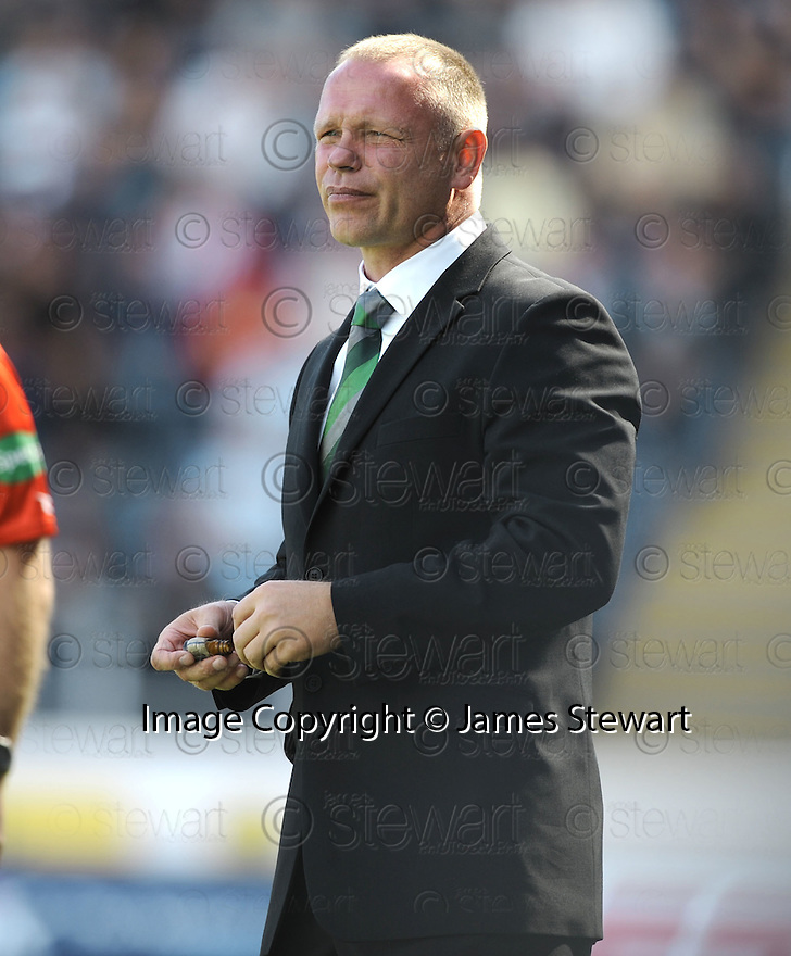 22/08/2009  Copyright  Pic : James Stewart.sct_jspa30_falkirk_v_hibs  .HIBS MANAGER JOHN HUGHES DURING THE GAME....James Stewart Photography 19 Carronlea Drive, Falkirk. FK2 8DN      Vat Reg No. 607 6932 25.Telephone      : +44 (0)1324 570291 .Mobile              : +44 (0)7721 416997.E-mail  :  jim@jspa.co.uk.If you require further information then contact Jim Stewart on any of the numbers above.........