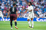 Real Madrid Marcelo and A.C. Milan Suso during Santiago Bernabeu Trophy match at Santiago Bernabeu Stadium in Madrid, Spain. August 11, 2018. (ALTERPHOTOS/Borja B.Hojas)