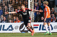 Matt Harrold of Crawley Town celebrates scoring the opening goal against Luton Town during the Sky Bet League 2 match between Luton Town and Crawley Town at Kenilworth Road, Luton, England on 12 March 2016. Photo by David Horn/PRiME Media Images.