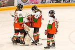 09.01.2020, BLZ Arena, Füssen / Fuessen, GER, IIHF Ice Hockey U18 Women's World Championship DIV I Group A, <br /> Ungarn (HUN) vs Italien (ITA), <br /> im Bild Petra Szamosfalvi (HUN, #8), Imola Horvath (HUN, #22) und Nina Szelenyi (HUN, #4) troesten Zsofia Toth (HUN, #20) nach Spielende<br /> <br /> Foto © nordphoto / Hafner