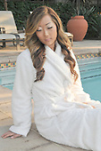 Stock photo of Asian Woman in spa robe