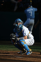 Jake Hirabayashi (28) of the UCLA Bruins looks to the dugout during a game against the North Carolina Tar Heels at Jackie Robinson Stadium on February 20, 2016 in Los Angeles, California. UCLA defeated North Carolina, 6-5. (Larry Goren/Four Seam Images)