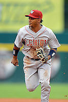 Lehigh Valley IronPigs second baseman Michael Martinez #3 during the first game of a double header against the Buffalo Bisons on June 7, 2013 at Coca-Cola Field in Buffalo, New York.  Buffalo defeated Lehigh Valley 4-3.  (Mike Janes/Four Seam Images)