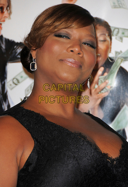 "QUEEN LATIFAH.Overature Pictures' L.A. Premiere of ""Mad Money"" held at The Mann Village Theatre in Westwood, California, USA..January 9th, 2008.headshot portrait earrings black lace .CAP/DVS.©Debbie VanStory/Capital Pictures"