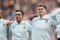 George Ford and Owen Farrell of England sing the national anthem. Old Mutual Wealth Series International match between England and Argentina on November 26, 2016 at Twickenham Stadium in London, England. Photo by: Patrick Khachfe / Onside Images