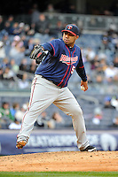 Apr 07, 2011; Bronx, NY, USA; Minnesota Twins pitcher Jose Mijares (50) during game against the New York Yankees at Yankee Stadium. Yankees defeated the Twins 4-3. Mandatory Credit: Tomasso DeRosa /Four Seam Images