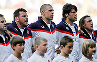 Charlie Hodgson, Steve Thompson, Dave Attwood, Tom Palmer and Jon Golding line-up to sing the national anthem. MasterCard Trophy International match between England and the Barbarians on May 30, 2010 at Twickenham Stadium in London, England. [Mandatory Credit: Patrick Khachfe/Onside Images]