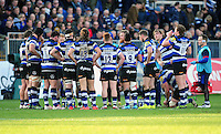 The Bath Rugby team huddle together during a break in play. Aviva Premiership match, between Bath Rugby and Harlequins on February 18, 2017 at the Recreation Ground in Bath, England. Photo by: Patrick Khachfe / Onside Images