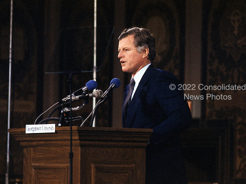 """Washington, DC - (FILE) -- United States Senator Edward M. """"Ted"""" Kennedy (Democrat of Massachusetts) makes a major policy speech at Georgetown University on January 28, 1980.  Kennedy, a candidate for the 1980 Democratic nomination for President of the United States, blasted the Carter administration and its policies.  He broke with Carter on such issues as the alleged crimes of the Shah of Iran, energy, and national health care..Credit: Benjamin E. """"Gene"""" Forte / CNP"""