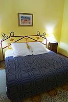 Bed with pillows. Guest room, hotel, interior. Domaine Grand Guilhem. In Cascastel-des-Corbieres. Fitou. Languedoc. France. Europe.