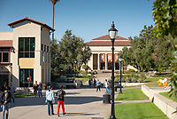 Students walk near the JSC Quad on a sunny Friday, November 9, 2018.<br /> (Photo by Marc Campos, Occidental College Photographer)