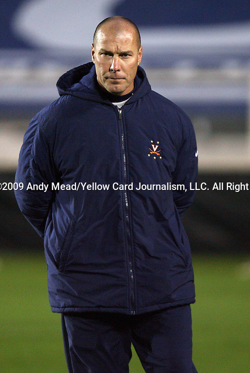 13 November 2009: Virginia head coach George Gelnovatch. The University of Virginia Cavaliers defeated the Wake Forest University Demon Deacons 4-3 on penalty kicks after the game ended in a 0-0 tie after overtime at WakeMed Stadium in Cary, North Carolina in an Atlantic Coast Conference Men's Soccer Tournament Semifinal game.