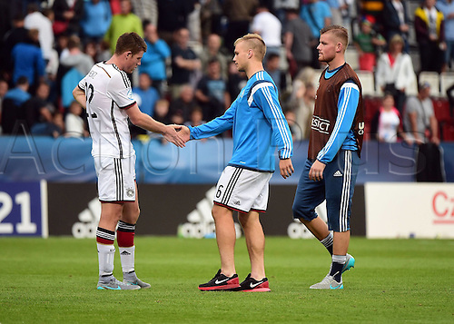 27.06.2015. Andruv Stadium, Olomouc, Czech Republic. U21 European championships, semi-final. Portugal versus Germany.  Dominique Heintz (Germany), Johannes Geis (Germany), Bernd Leno (Germany) looking disappointed