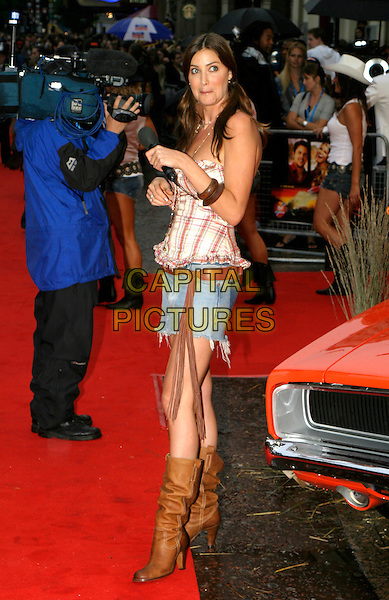 """LISA SNOWDON.""""The Dukes Of Hazzard"""" UK Film Premiere, Vue Leicester Square, London..August 22nd, 2005.full length funny face denim jean skirt brown leather boots plaid top tassles.www.capitalpictures.com.sales@capitalpictures.com.© Capital Pictures."""