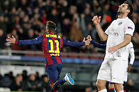 FC Barcelona's Neymar Jr celebrates goal in presence of Paris Saint-Germain's Thiago Motta during Champions League 2014/2015 match.December 10,2014. (ALTERPHOTOS/Acero) /NortePhoto