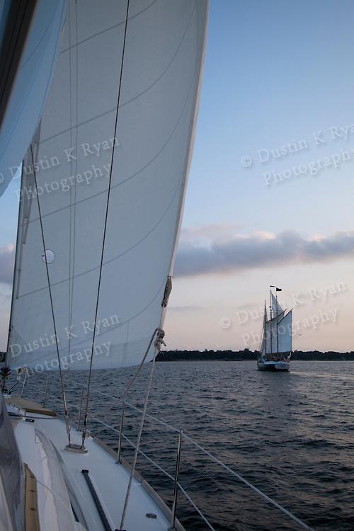 Schooner Pride sunset sailboat in the Charleston Harbor