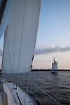 Schooner Pride sunset sailboat in the Charleston Harbor