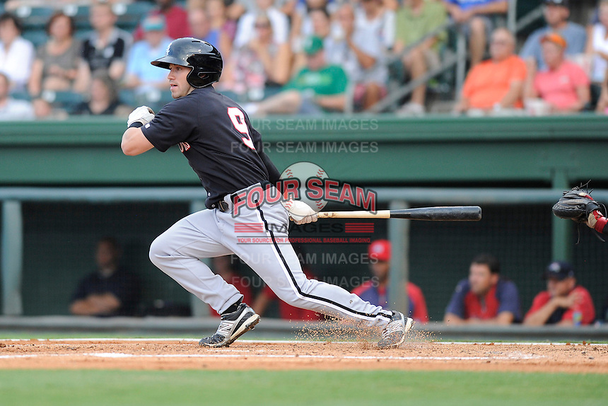 Right fielder Kale Kiser (9) of the Kannapolis Intimidators in a game against the Greenville Drive on Monday, August 5, 2013, at Fluor Field at the West End in Greenville, South Carolina. Kannapolis won, 3-0. (Tom Priddy/Four Seam Images)