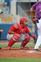 Palm Beach Cardinals catcher Jose Godoy (27) waits to receive a pitch during a game against the Charlotte Stone Crabs on April 21, 2018 at Charlotte Sports Park in Port Charlotte, Florida.  Charlotte defeated Palm Beach 5-2.  (Mike Janes/Four Seam Images)