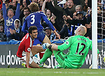 Middlesbrough's Fabio screams at Brad Guzan as Chelsea's Marcos Alonso celebrates his goal during the Premier League match at Stamford Bridge Stadium, London. Picture date: May 8th, 2017. Pic credit should read: David Klein/Sportimage